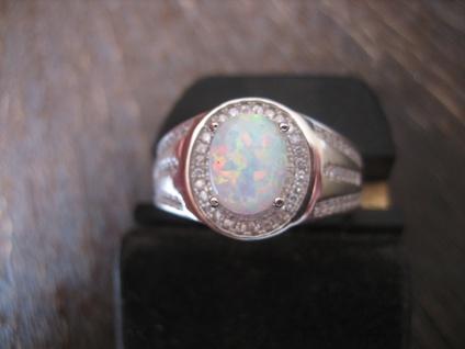sehr edler moderner Designer Opal Ring 925er Silber Opalring 20, 5 mm RG 65