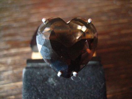 prächtiger Vintage Designer Herz Ring riesiges Topas Herz 925er Silber D. Sigal