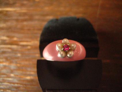 zuckersüß mit Sahnehäubchen Ring rosa Emaille Perlen Rubin 925er Silber RG 53