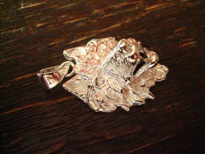starker Wolf Wolfskopf Anhänger massiv 925er Silber plastisch gearbeitet - Vorschau 3