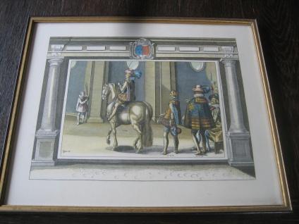 Antoine De Pluvinel Barock Reiten Bild Kupferstich colorierter Stich gerahmt 16