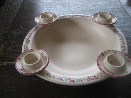 traumhafter großer Kerzenteller Keramik Schale Kerzenhalter für 4 Kerzen