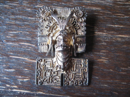 ausgefallener großer Anhänger Maya Azteken Gott 925er Silber gold Handarbeit
