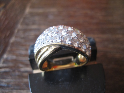 prächtiger vintage Designer Ring Cocktailring 925er Silber gold Zirkonia RG 57 - Vorschau 2