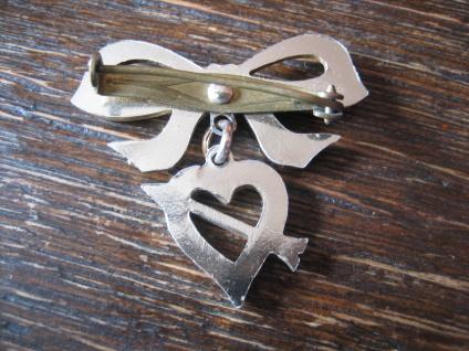 süße Vintage Herz Brosche getroffenes Herz Pfeil Schleife Amor für Verliebte - Vorschau 3