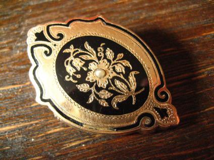 reizende wunderschön verzierte Biedermeier Brosche gold Emaille tolle Form - Vorschau 2