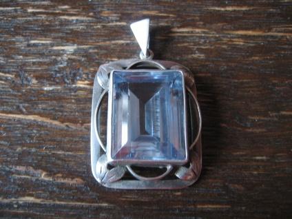 Sehr edler Art Deco Anhänger aquamarin Stein 835er Silber geometrische Fassung