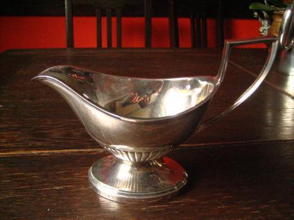 traumhaft elegante große Sauciere silber pl Viners Sheffield Queen Anne Stil