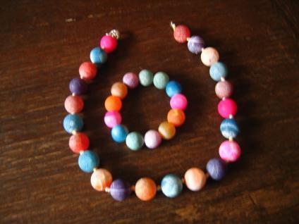 traumhaft schönes farbenfrohes Schmuckset Kugel Collier Kette mit Armband in Sorbet Farben