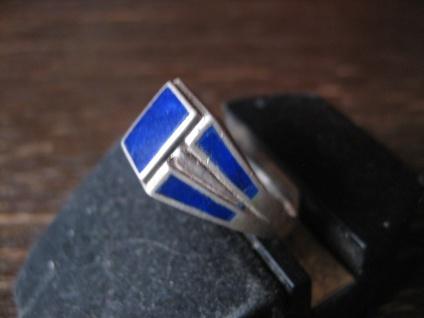 klassischer Art Deco 925er Silber Ring lapislazuli blau emailliert Emaille 18, 25
