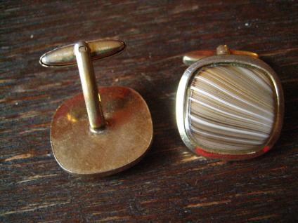 prächtige klassische Vintage Manschettenknöpfe gold dezente achat Streifen Beige - Vorschau 2