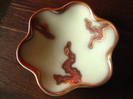 kultige 50er Jahre Keramik Schale Anbietschale Laufglasur Jasba Grün Gold
