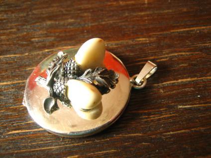 seltener antiker Medallion Anhänger Grandln Grandel Grandeln 835er Silber Dirndl - Vorschau 3