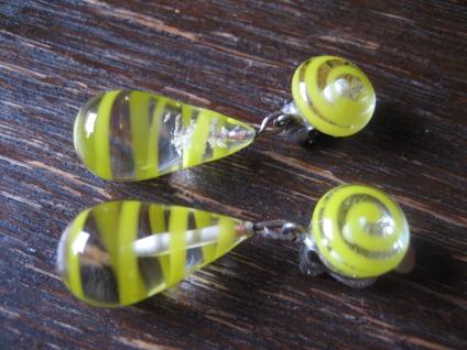 ausgefallene Vintage Ohrringe Clips Ohrclips Hänger Überfangglas gelbe Spiralen - Vorschau 2