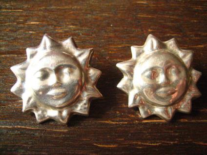 prächtige große Designer Ohrringe Sonne 925er Silber Stecker