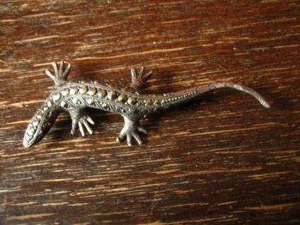 prächtige Art Deco Markasit Brosche Eidechse Salamander Gekko 835er Silber 6 cm