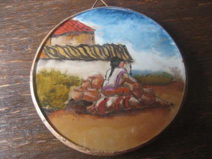 kleines Bild Wandbild Hinterglasmalerei Lima Peru 1986 Kunst der Völker Unikat - Vorschau 1