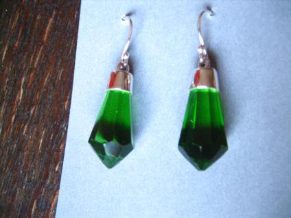 reizende Designer Ohrringe Hänger Pampeln turmalin grün 925er Silber Obsidian