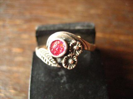 wunderschöner Trachten Stil Blümchen Ring 825er Silber Emaille Dirndl Schmuck