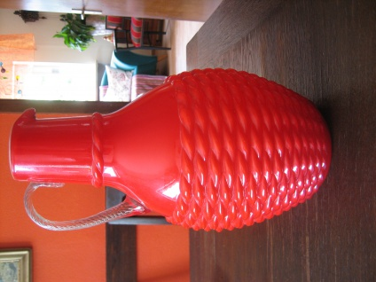 witzige Designer Korb Vase rot Muranoglas Murano Italien Opalina Fiorentina 30 c