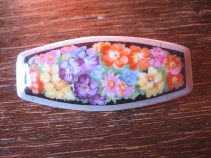 vintage Miniaturmalerei Porzellanmalerei Brosche üppige bunte Blumen tolle Form
