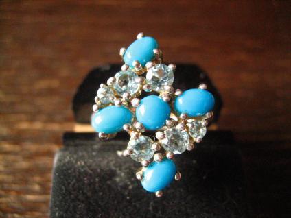 prächtiger vintage Designer Ring Cocktailring 925er Silber Türkis aquamarin blau - Vorschau 1