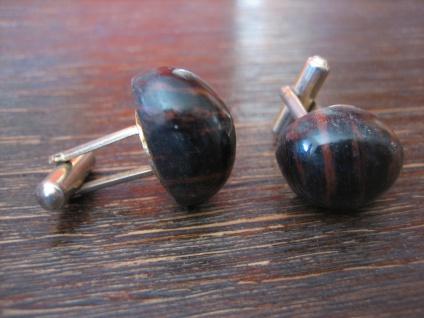seltene vintage Manschettenknöpfe Edelstein schwarz braun - schimmernde Streifen - Vorschau 2