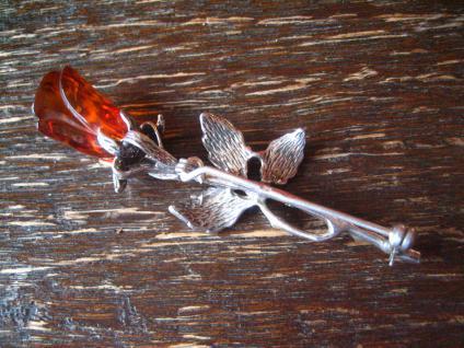reizvolle vintage Bernstein Brosche Rose Rosen Blüte mit Blättern 925er Silber