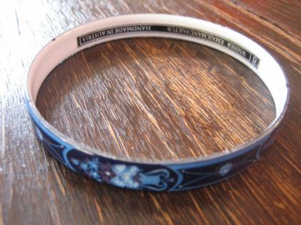 Michaela Frey Designer Armreif Emaille Modernist Vintage enamel bangle 70er Blau - Vorschau 3