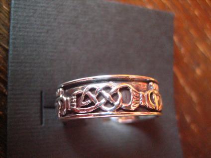 toller Claddagh Ring Herz Krone Hände Hochzeitsring 925er Silber RG 62 et Nox - Vorschau 2