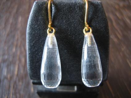 edle klassische Ohrringe Hänger lange Bergkristall Pampeln 925er Silber gold NEU