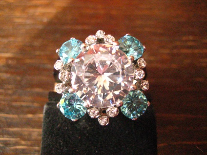 funkelnder vintage Designer Ring Cocktailring 925er Silber Topas Blautopas RG 62