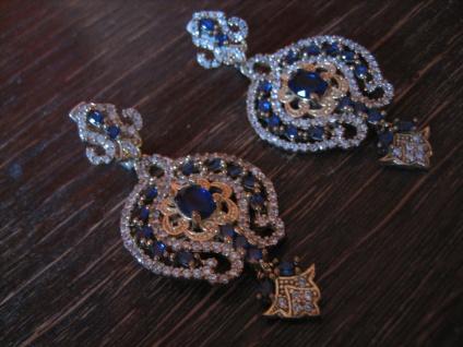 Kronjuwelen gesucht ? üppige Ohrringe Barock Stil 925er Silber gold saphir blau - Vorschau 3