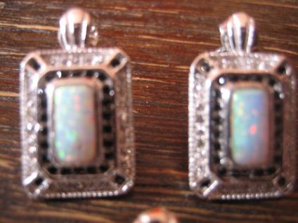 prächtige Ohrringe Art Deco Stil 925er Silber Zirkonia weißgold opal diamant ?