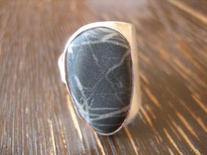 markanter Herrenring Designer Ring Kieselstein 925er Silber RG 63 20 mm Unikat
