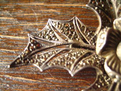 große Art Deco Markasit Brosche Weihnachtsstern Stern Blume Blüte 835er Silber - Vorschau 4