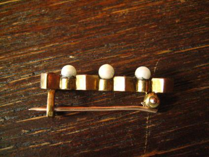 elegante Jugendstil Krawattennadel Stabnadel Brosche Granat Perlen 585er Gold - Vorschau 3