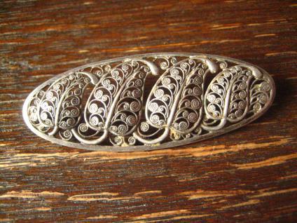 dekorative florale Blatt Brosche feine Durchbrucharbeit 835er Silber filigran - Vorschau 2