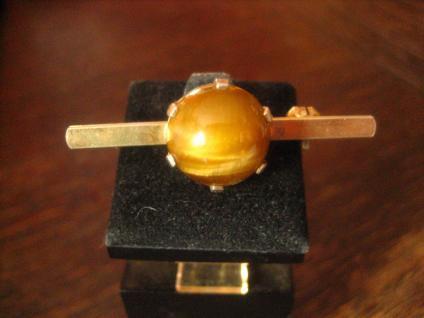 elegante Art Deco Nadel Krawattennadel Tigerauge gold Doublé Brosche Stabnadel