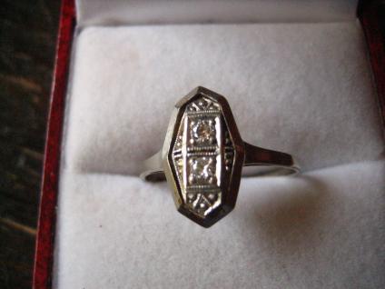 hauchzarter Art Deco Ring fein verziert 590er Weißgold Diamantrosen RG 59 / 18, 75