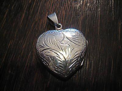 romantisches graviertes großes Herz Medallion 925er Silber wunderschön verziert