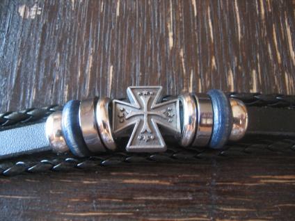 starkes Biker Armband Herrenarmband Leder Eisernes Kreuz EK et Nox 21 cm lang