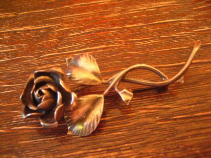 sehr dekorative antike Rosen Brosche Rose vollplastisch 800er Silber signiert - Vorschau 2