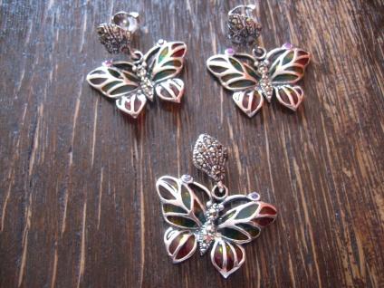 Schmuckset Ohrringe Anhänger Schmetterling Emaille Butterfly Earrings Pendant