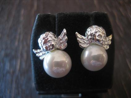 zuckersüße Engel Putto Ohrringe Stecker Ohrstecker 925er Silber große Perle neu