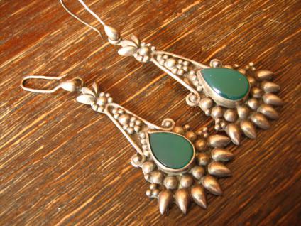 lange 925er Silber Ohrringe Hänger grüner Achat super schön verziert Handarbeit