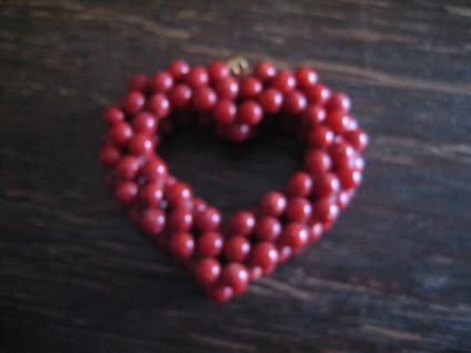 romantischer Herz Anhänger großes Herz echte Rote Koralle Kugeln wunderschön NEU