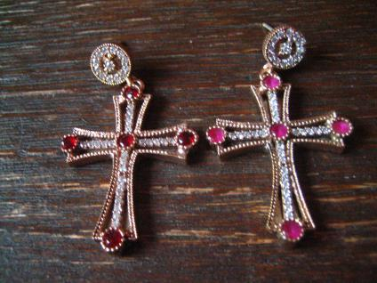 Kronjuwelen gesucht ? Prächtige Kreuz Ohrringe Hänger Chandeliers 925er Silber