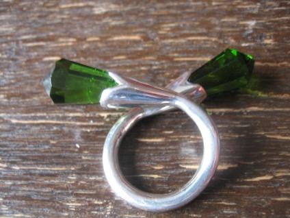 Traum Statement Designer Ring turmalin grün 925er Silber grüner Obsidian RG 59
