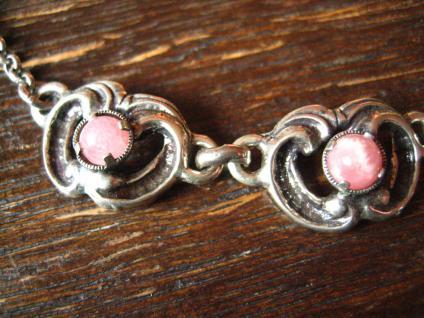wunderschönes florales Trachten Dirndl Collier 835er Silber rosa Rhodochrosit - Vorschau 4